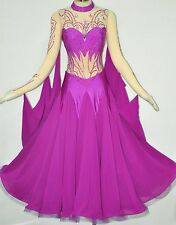Women Competition Ballroom Dance Dress Modern purple nude Smooth Swing Gown US12
