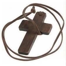 Retro Vintage Fashion Unisex Religious Wooden Wood Cross Pendant Necklace Brown