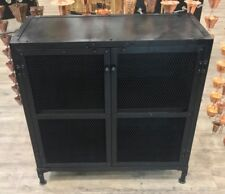 Indian Antique style Urban Industrial Black Metal Iron Sideboard Cupboard Unit
