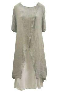 Women Ladies Italian linen cotton layered 3 piece dress