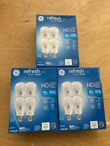 GE Refresh LED HD DAYLIGHT Dimmable Bulbs 12-Pack 800 Lumens 10.5W60W A19