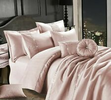 LEONA EMBROIDERED Luxury Satin Silk Duvet Quilt Cover Set Or Bed-Spread All Size