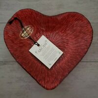 NEW AKCAM TURKISH GLASS GLITTERY RED HEART SHAPE PLATE VALENTINE'S HOME DECOR