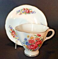 Windsor Pedestal Tea Cup And Saucer - Carnations And Bachelor Buttons - England