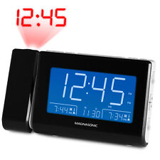 Magnasonic Alarm Clock Radio with USB Charging for Smartphones, Time Projection