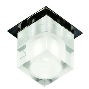 Chrome Ceiling Fitting Recessed Downlighter Square Opal Glass Home Office Light