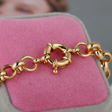 Women's 18k 18ct Yellow Gold Filled Filigree Heart Bechler Padlock Bracelet