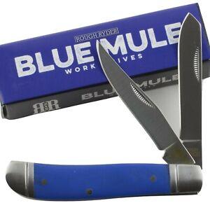 Rough Ryder Blue Mule Trapper Pocket Knife RR2171 G10 Handle