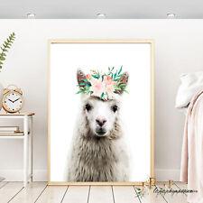 Llama art print,Llama wall print, Llama nursery decor,Llama peach wall print,