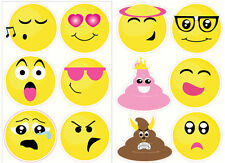 "EMOJI wall stickers 12 big decals teen decor phone text faces EMOTICON 6"" poop"