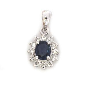 0.5 ctw Natural Blue Sapphire & Diamond Solid 14k White Gold Halo Pendant 16 mm