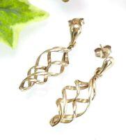 9 CT Gold Double Spiral Drop Dangle Earrings - Sheffield Hallmarks - 3.2 Grams