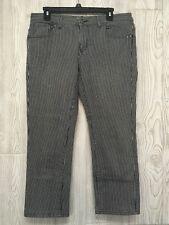 CAbi #324 Black White Striped Women's Cropped Jeans Size 6