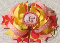 Pink Yellow Polka Dot Disney Baby Minnie #1 1st First Birthday Hair Bow 4 1/2""