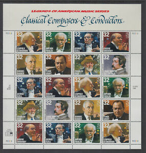 US #3158 - 3165 Classical Composers and Conductors 32c Complete Sheet of 20 MNH