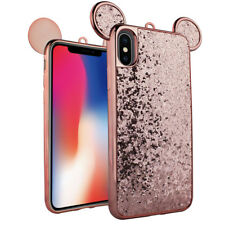 For iPhone X - Rose Gold Shiny Metallic Mouse Ear Glitter Hybrid Skin Case Cover