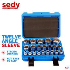 "21Pc Socket Set 1/2"" Drive Metric Size 8-36mm 12-Point Grip Sleeve Storage Case"