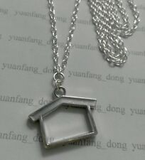 """A Home Sweet Home , House  Tibetan Silver Charm Pendant, Long 30"""" Chain Necklace"""