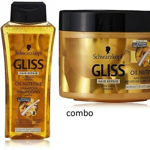 Schwarzkopf Gliss Hair shampoo and Nutritive Gliss Mask Combo