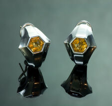 Vintage Citrine Sterling Silver & Gold Earrings
