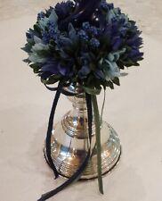 porta candela -   argento 800  con fiori e candela blu