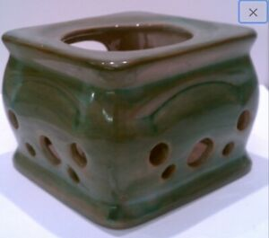 Vintage STANGL USA 3412 Pottery Terra Rose Green Candle Holder Votive redware