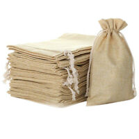 5.9 inch X 8 inch Natural Linen Burlap Bags With Jute Drawstring for Gift B L7W6