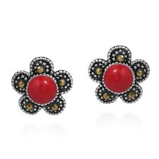 Vintage Daisy Flower Red Coral and Marcasite .925 Silver Post Earrings