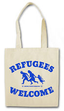 REFUGEES WELCOME II HIPSTER TOTE BAG Pro Flüchtlinge Asyl PDS Stoffbeutel Tasche