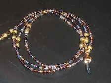 """Beaded Eyeglass Chain~Brown/Gold Multi~28""""~Tortoise~F ancy Ends~ Buy 3 Ship Free~"""