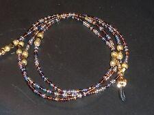 "Beaded Eyeglass Chain~Brown/Gold Multi~28""~Tortoise~Fancy Ends~ Buy 3 SHIP FREE~"