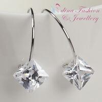 18K White Gold Plated Simulated Diamond Princess Cut Popular Small Hoop Earrings