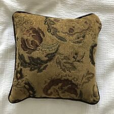 Golden Brown Brocade Floral Tapestry Leather/Faux Trim Throw Pillow Zipper EUC