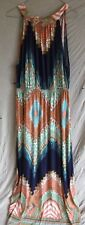 CHERRY LANE MAXI DRESS SIZE L 14 $5 POSTAGE SUPERB COLOURWAY LOVELY NECKLINE