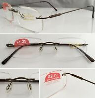 A8 Superb Quality Rimless Reading Glasses & Spring Hinges & Stainless Steel Arms
