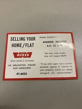 VINTAGE REAL ESTATE CARD ESTATE AGENT ERIC WEBER ANDREW NICHOLS EAST MELBOURNE
