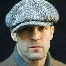 Mens Wool Newsboy Gatsby Cap Driving Flat Cabbie Plaid Tweed Ivy Vintage Hat New