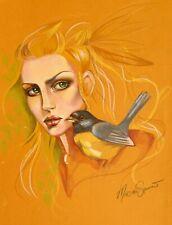 ORIGINAL ARTWORK  GOLDEN FAIRY HEAD WITH BLUE TIT BIRD  by MORTIMER SPARROW