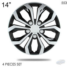 """NEW 14"""" ABS SILVER RIM LUG STEEL WHEEL HUBCAPS COVER 553 FOR MAZDA"""