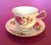 Queen Anne Pedestal Cup & Saucer - Pink Rose Gardenia BlackEyed Susan - England