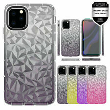 For iPhone 11 (all variants) Two Tone Diamond Texture TPU Case + Tempered Glass