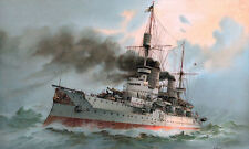 "Kaiser Friedrich German Navy Battleship Painting 11""x18.5"" Real Canvas Art Print"