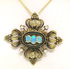 Vintage 14k Green Gold Opal Pearl & Black Enamel Pendant Brooch Pin w/ Chain