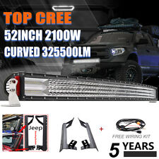 CURVED 52Inch 2100W Quad Row LED Light Bar + Mount Bracket Fit For Jeep Wrangler