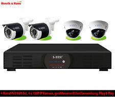 Videoüberwachung Set NVR 4x HD Überwachungskamera PoE Dome Außen Kameras + 2TB