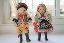 2 ANTIQUE VINTAGE COMPOSITION JOINTED DOLLS EXQUISITE ETHNIC CLOTHING 10