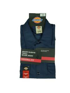 Dickies 1574 Men Work Shirt Size Large Blue Short Sleeve Original Fit Uniform