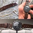 20 mm dark chocolate brown Leather Racing Strap bracelet cinturino valjoux