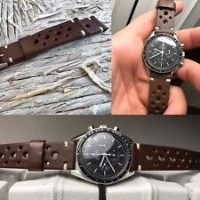 20mm handmade DARK CHOCOLATE brown Leather Racing Strap bracelet cinturino