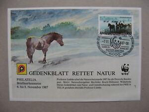 GERMANY, non-postal S/S  WWF, Gedenkblatt Rettet Natur 1987, stamp horses